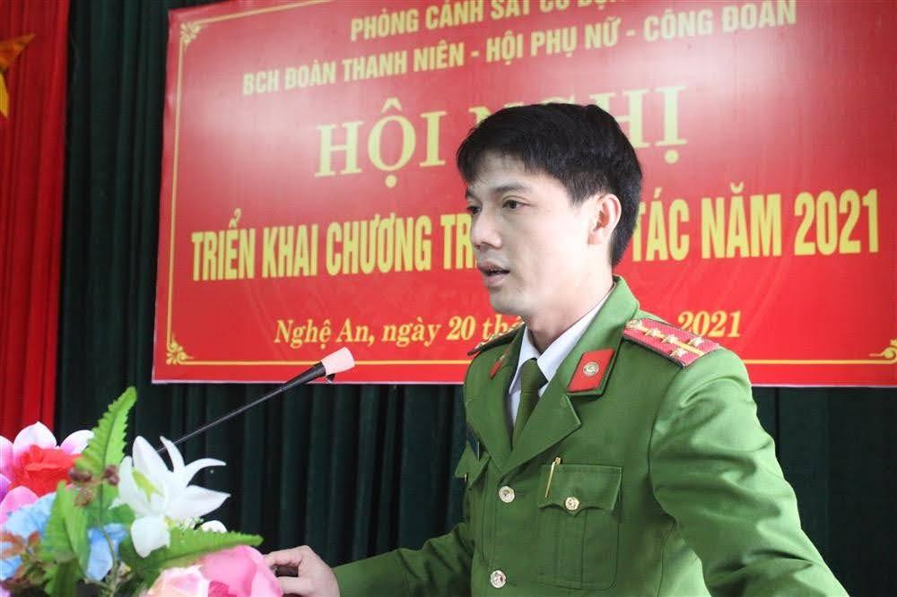 Đại úy Chu Chí Quốc, Phó Bí thư Đoàn Thanh niên Công an tỉnh phát biểu chỉ đạo