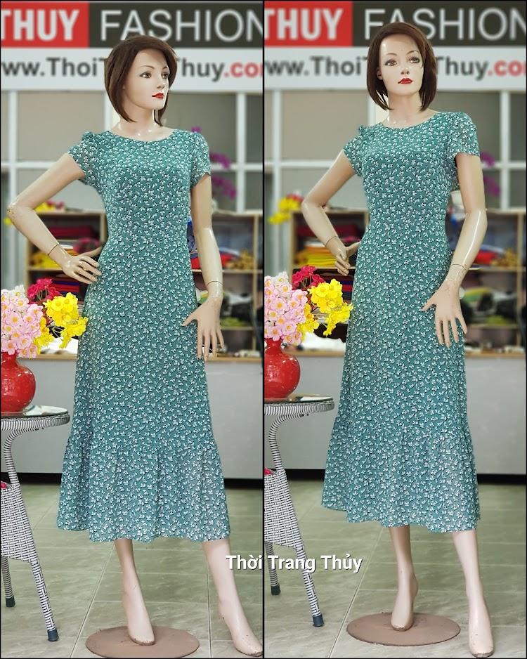 Váy đầm maxi vải chiffon hoa nhí màu xanh V710 thời trang thủy hải phòng