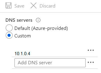 You configure the DNS servers settings for each virtual network as shown in the following exhibit.