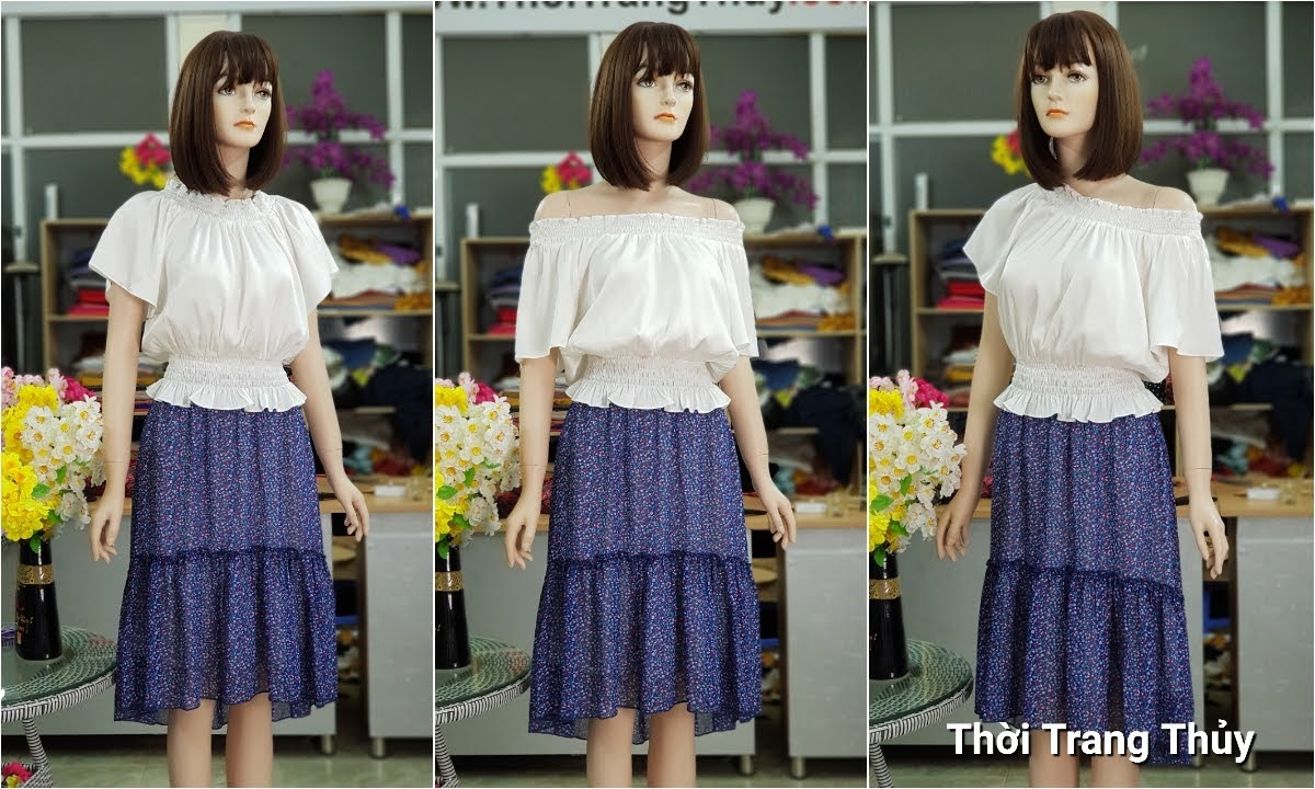 áo trễ vai mix chân váy xòe V715 Thời Trang Thủy