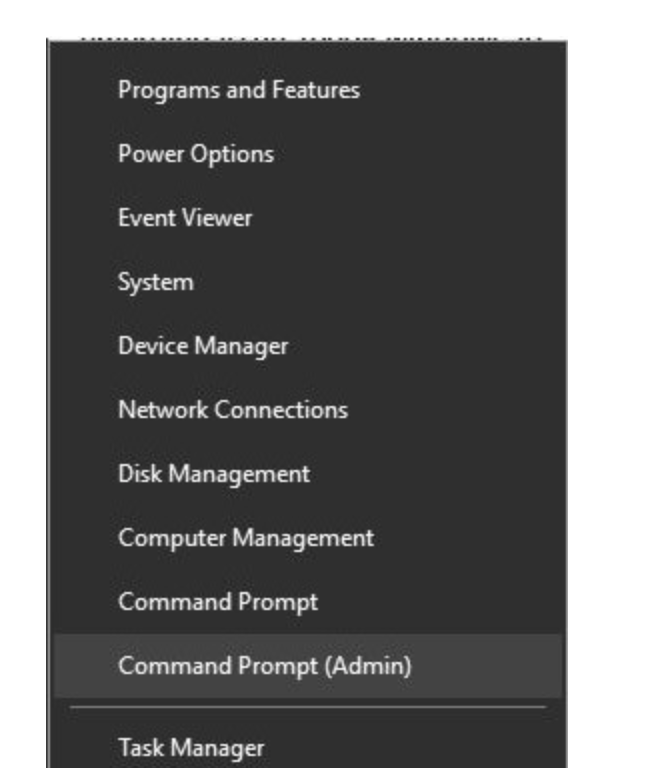 Press Windows + X and choose Command Prompt (Admin) from the menu to start Command Prompt as administrator.