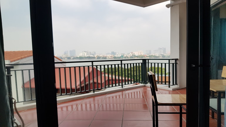 Big balcony one bedroom apartment with lake – view in Quang Khanh street, Tay Ho district for rent
