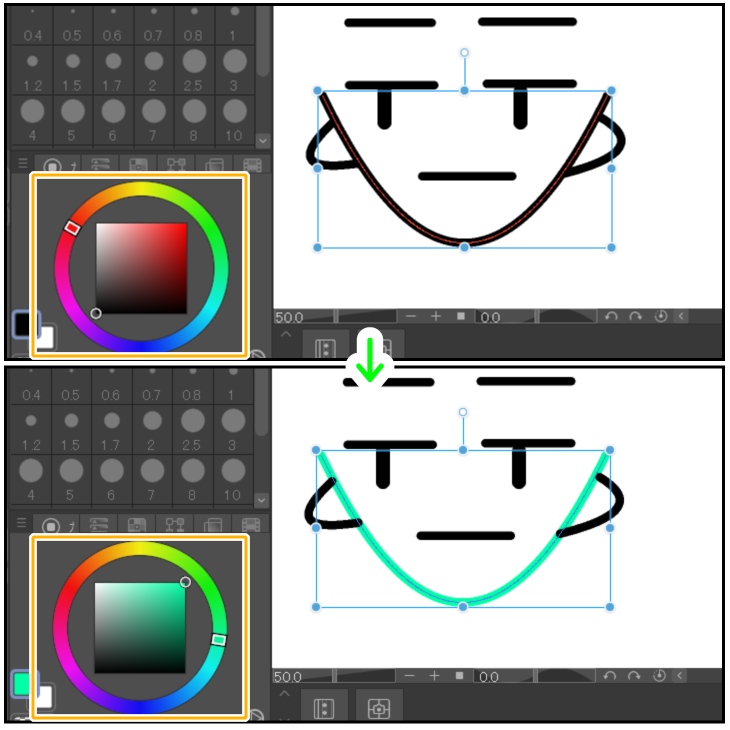 クリスタのベクター線をオブジェクトツールで編集(線の色)