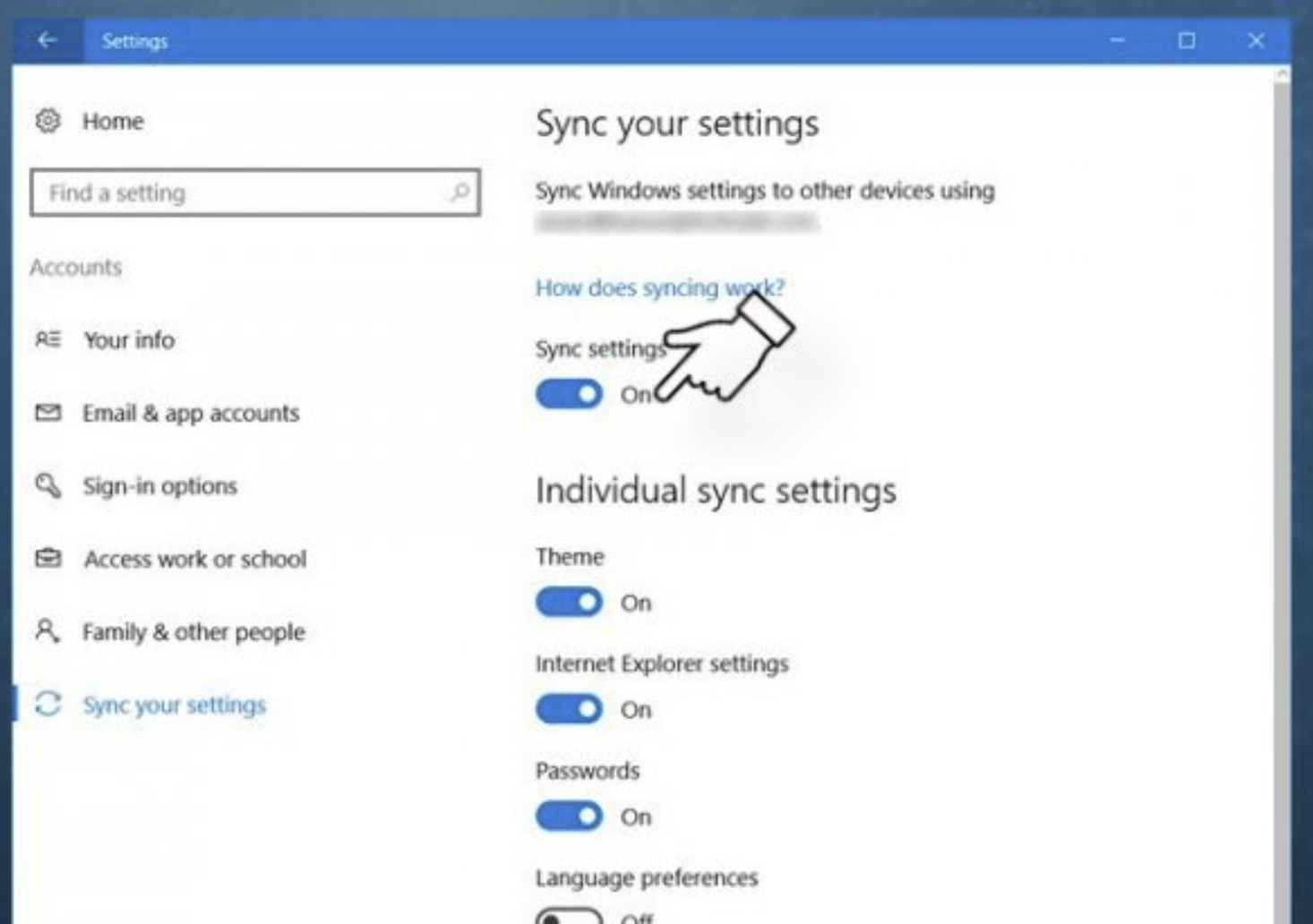 Toggle on the Sync settings option, and whatever you want to sync.