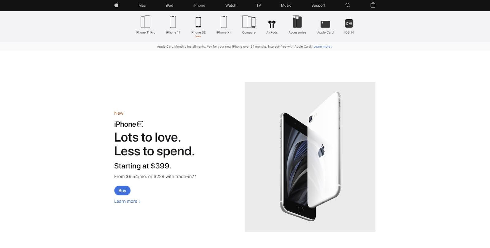 One of the most influential websites to use white space effectively is the Apple website.