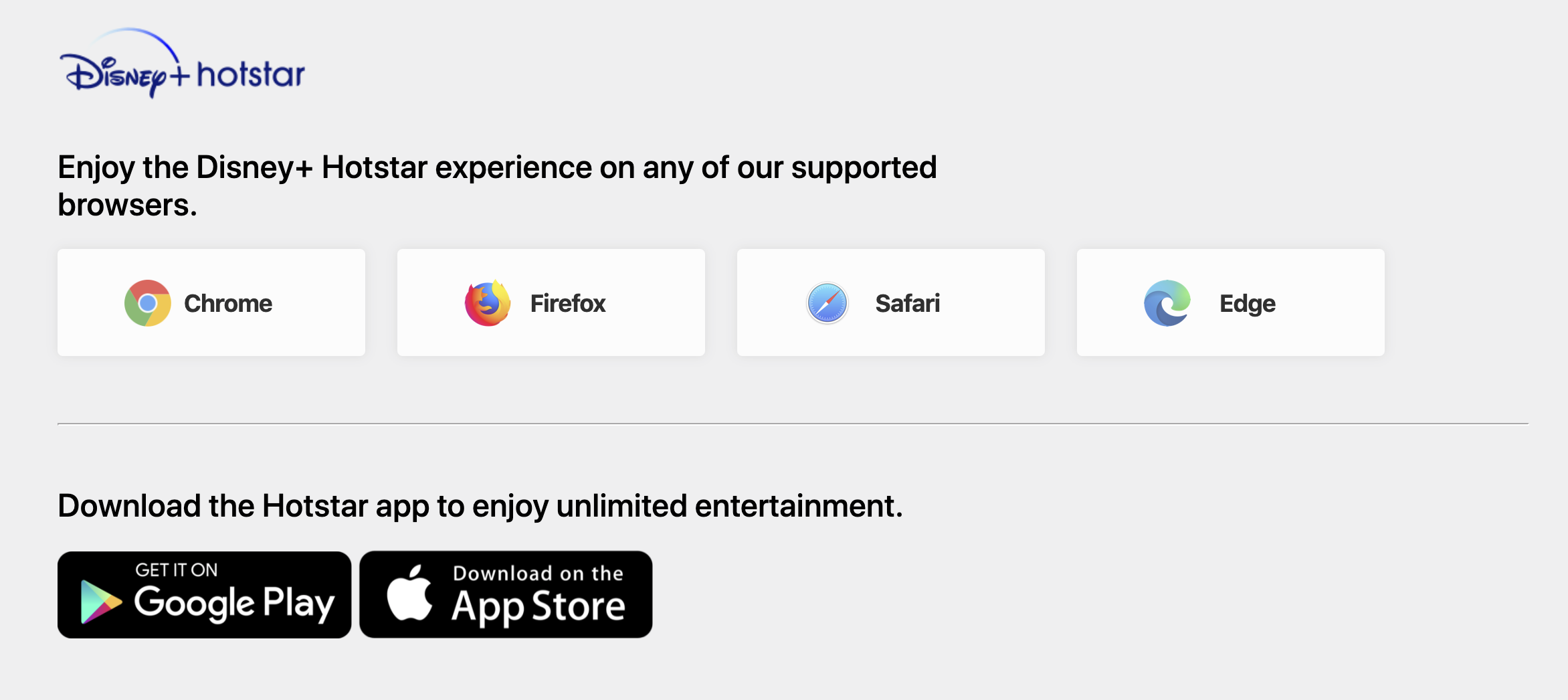 Support web browser and Disney+ Hotstar App