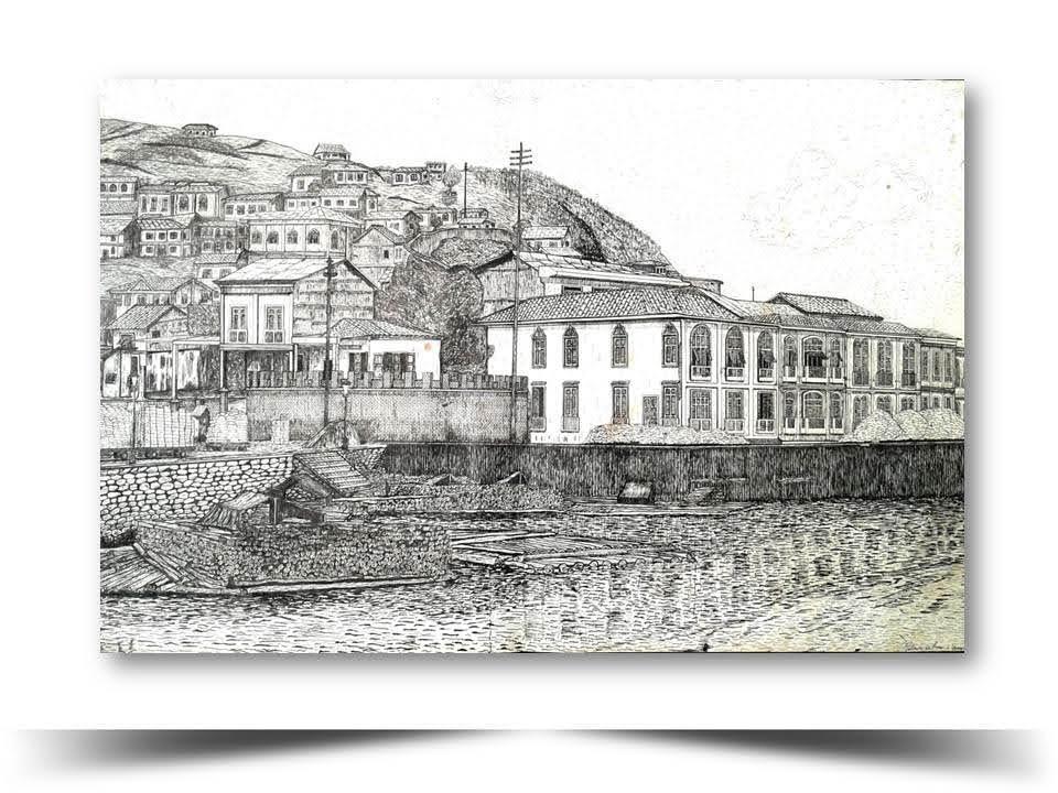 Guayaquil Antiguo vista desde el Rio Guayas Obra del Artista Ecuatoriano Lalinchi Arreaga Burgos E.E.A.B