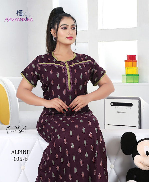 Kavyansika Embroidery Alpine Vol 105 Branded Night Gowns Catalog Lowest Price