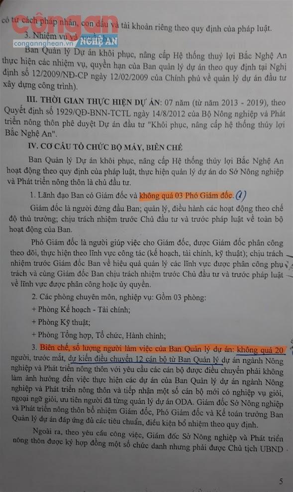 Quyết định số 749/QĐ-UBND, ngày 7/3/2013 của UBND tỉnh phê duyệt, Ban QLDA NN&PTNT có Giám đốc, không quá 3 Phó Giám đốc và không quá 20 người làm việc...