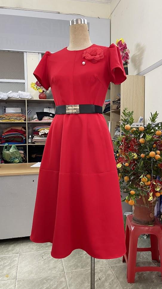 Cách để che bụng với khiểu váy xòe V752 thời trang thủy hà nội