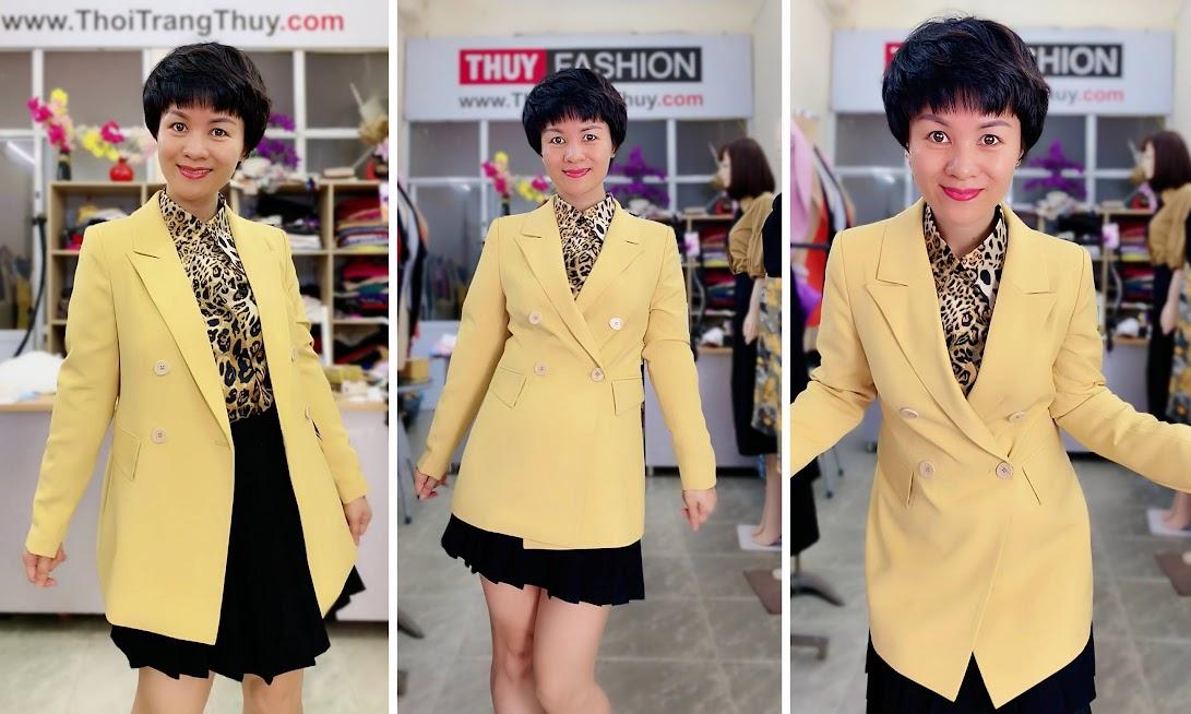 Áo vest nữ mix đồ áo sơ mi và chân váy xòe V730 thời trang thủy