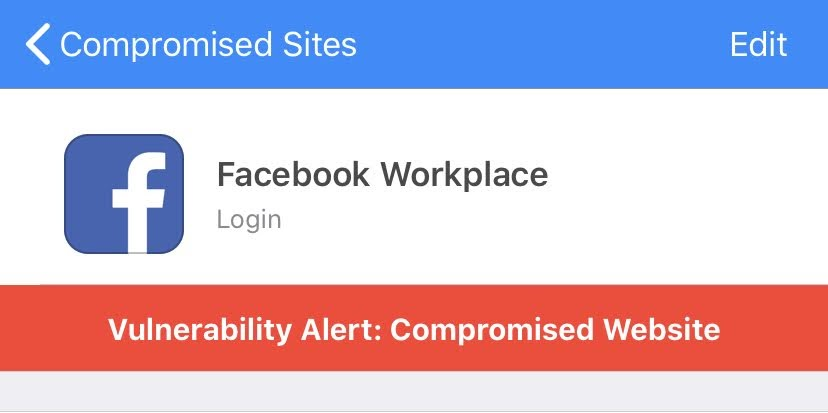 Warning from 1Password about Facebook Workplace.