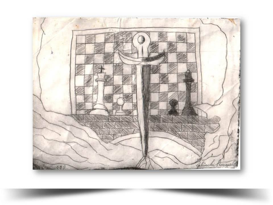 Grabado en Punta Seca Partida InsolitaObra 1998 del Artista Ecuatoriano Lalinchi Arreaga Burgos E.E.A.B