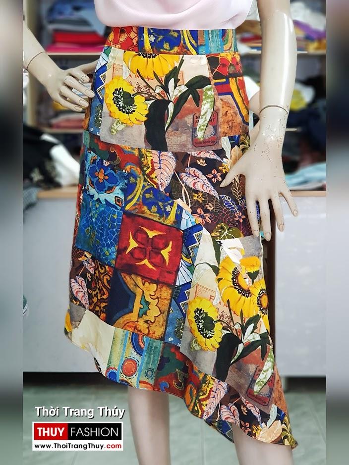 Áo hai dây và chân váy xòe vạt lệch dạo phố V714 thời trang thủy quảng ninh