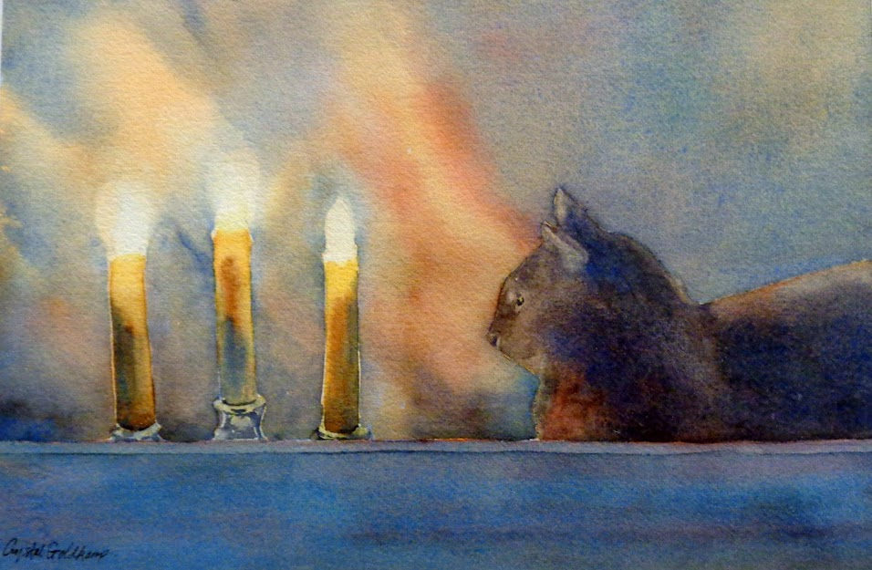 "People's Choice Award:  ""Cat and Candles"" Watercolor by Crystal Goldkamp"