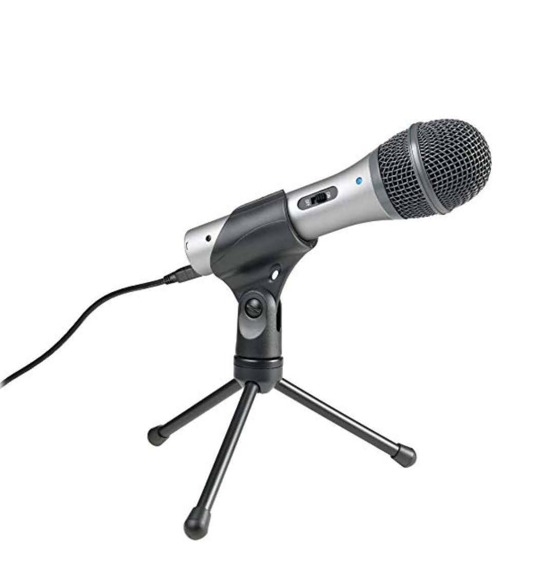 A less expensive (but still high-quality) microphone is the ATR-2100, which you can purchase from a multitude of retailers for approximately $79. We started off with the ATR mics and then upgraded to the Rode Podcasters.
