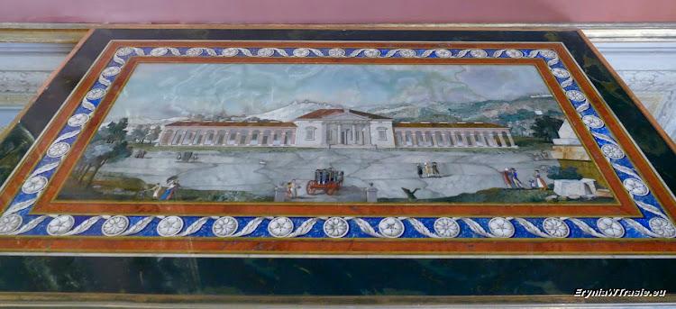 Przykład blatu stołu wykonanego wtechnice Pietra Dura. Tak, tak, towszystko są kamienie.