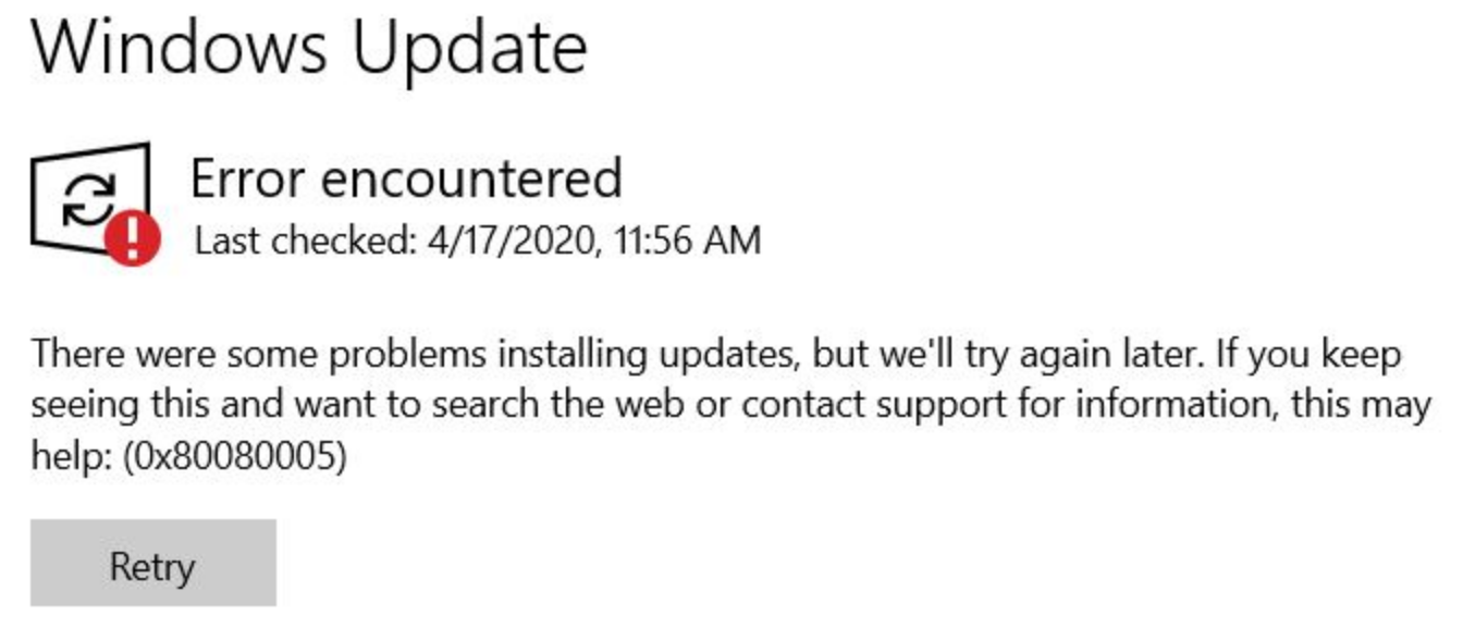 Windows Update. Error encountered. There were some problems installing updates, but we'll try again later. If you keep seeing this and want to search the web or contact support for information, this may help: