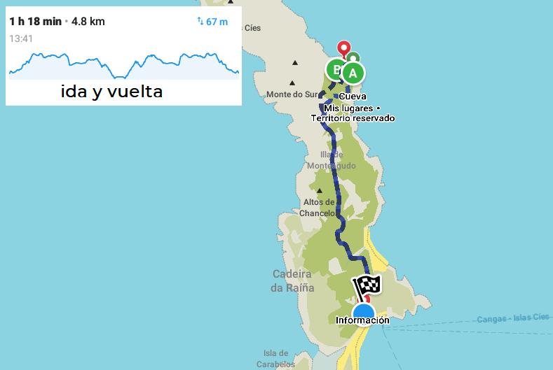 mapa ruta faro do peito cíes