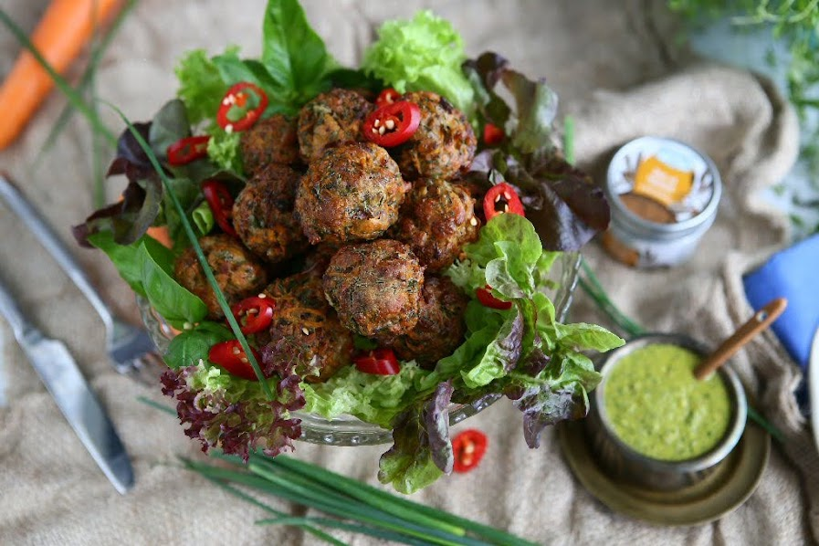 Baked Carrot Halloumi Balls with Ras el Hanout and Salsa Verde