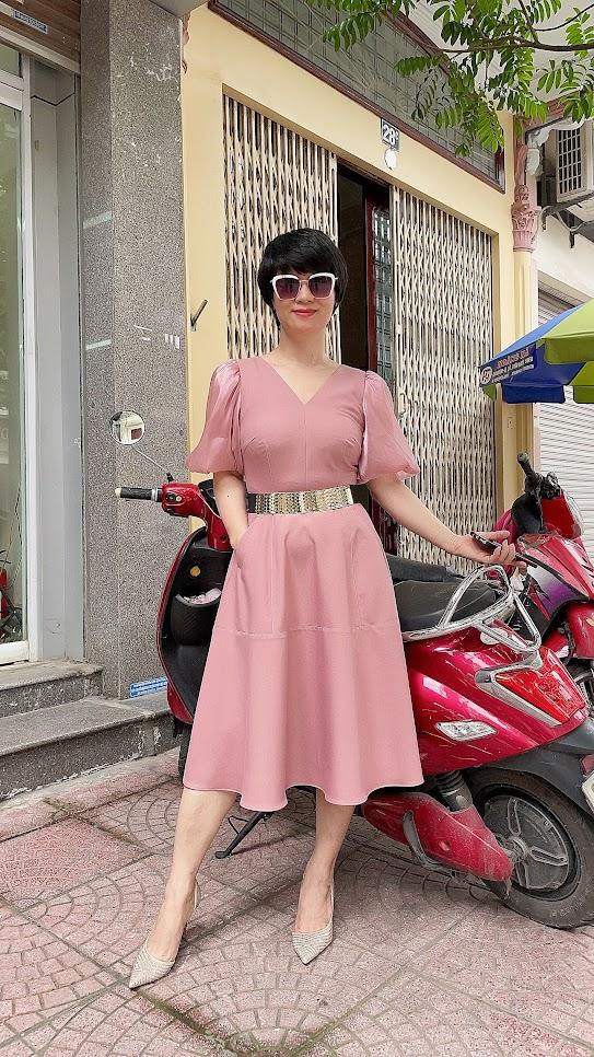 váy xòe midi công sở dạo phố thời trang thủy đà nẵng