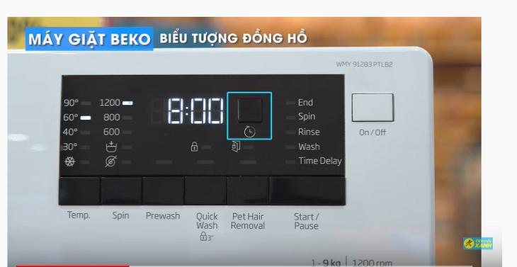 máy giặt Beko được hiển thị bằng biểu tượng đồng hồ
