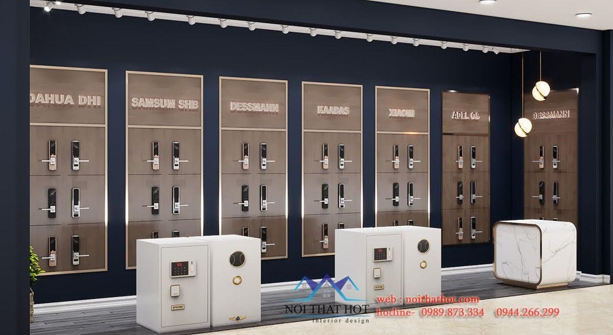 thiết kế gian hàng bán khóa cửa cao cấp