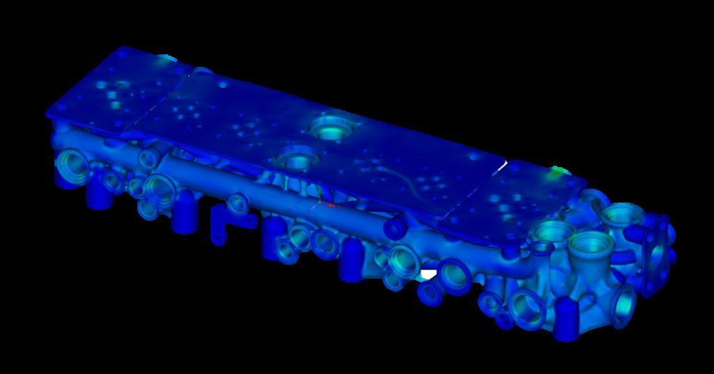 Распределение эквивалентных напряжений по Мизесу в оптимизированной конструкции плиты гидроаппарата под действием давления в каналах