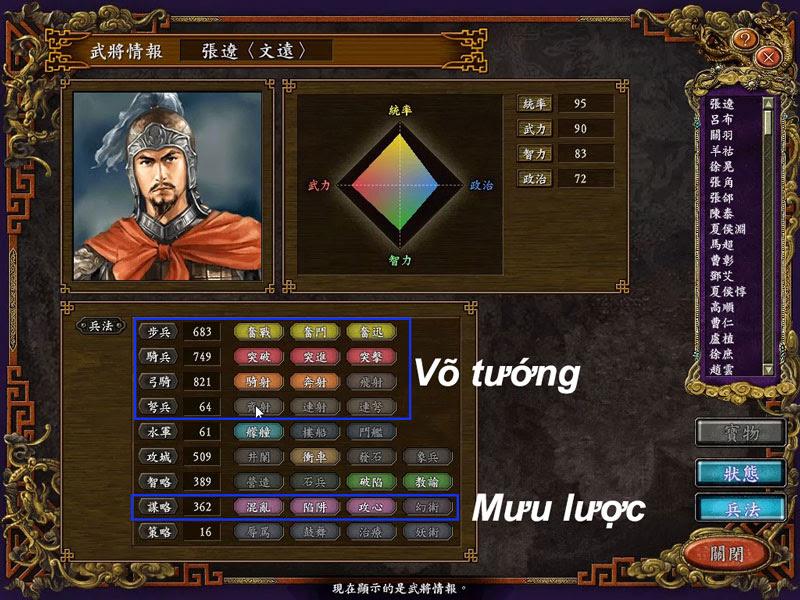 Chỉ số và binh pháp của tướng Trương Liêu trong RTK 9 PUK