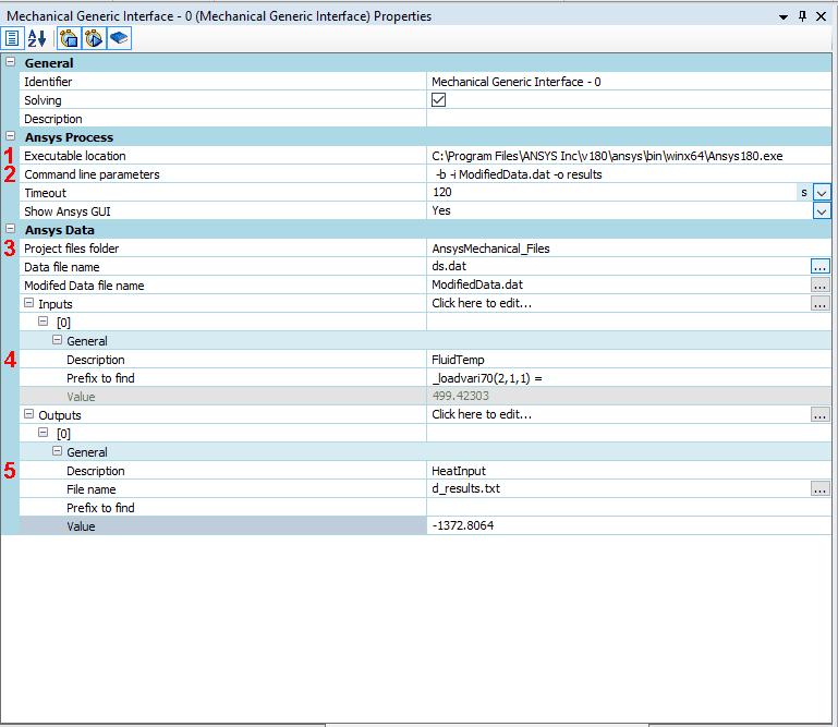 Рассмотрим параметры, которые необходимо ввести в окне Mechanical Generic Interface во Flownex