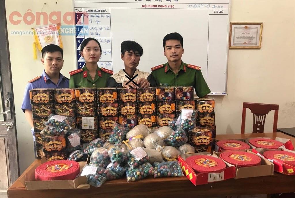 Công an huyện Tân Kỳ khám phá thành công Chuyên án, bắt giữ đối tượng Thái Khắc Tùng (X) về hành vi buôn bán, tàng trữ hơn 1 tạ pháo các loại