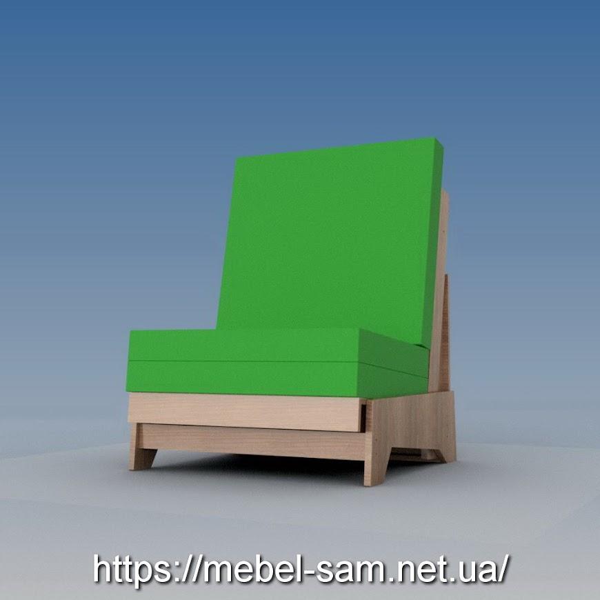 Кресло-футон из фанеры с мягкими подушками