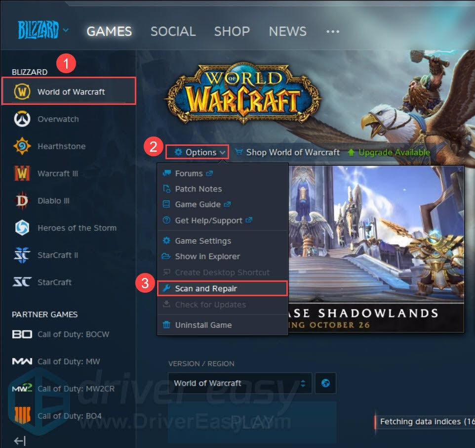 Scan and Repair option in War of Warcraft