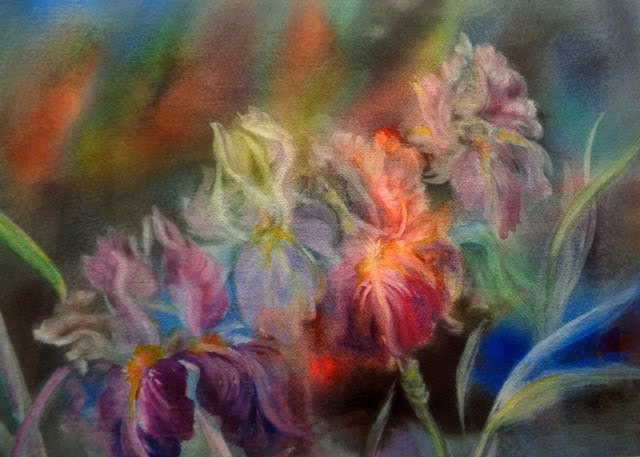 "Honorable Mention: ""Dusty Iris"" Watercolor by Linda Wilmes."