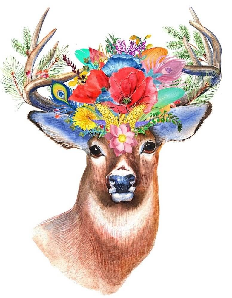 an antelope with a head full of crown flowers used in an article on daily rituals for creative people.jpg