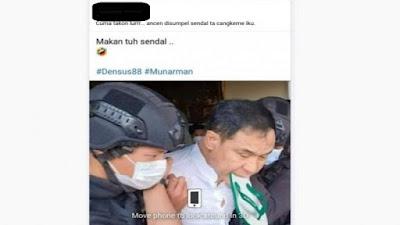 Munarman Disumpal Sandal Saat Ditangkap? itu Hoaks!