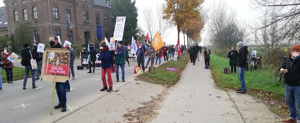 Protestierende mit Fahnen und Plakaten.