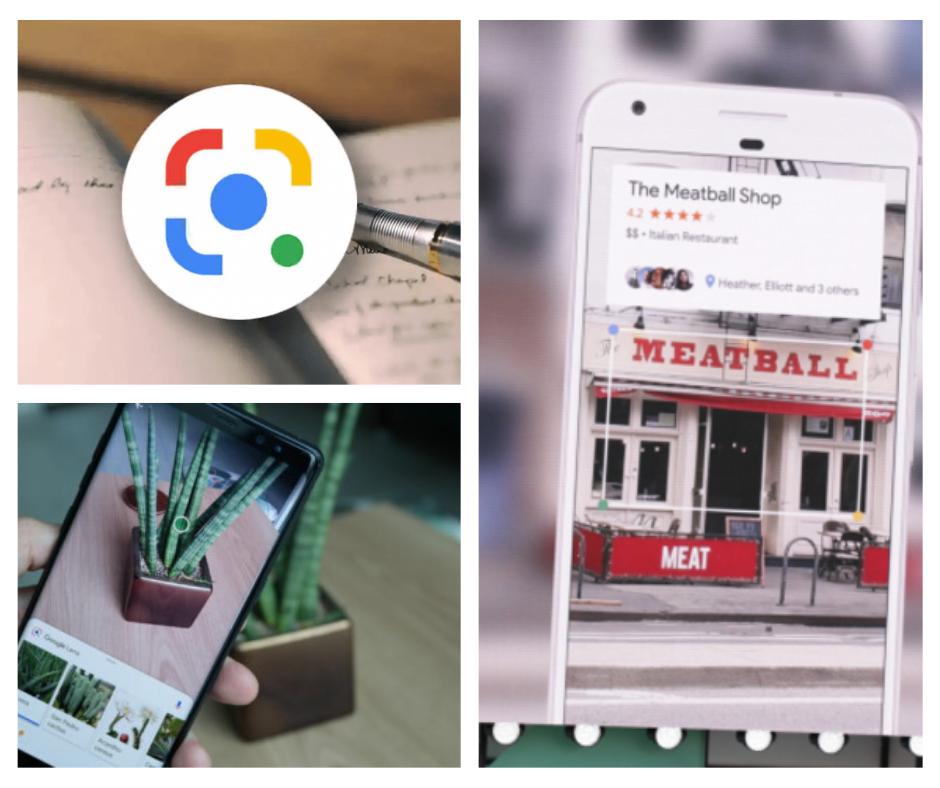Google Lens avec ses différentes fonctionnalités : conversion de notes manuscrites en texte informatique, détection de plante, avis sur un restaurant