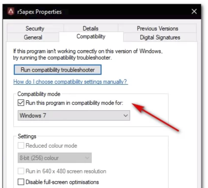 Choose Windows 7 compatibility mode for R5Apex.exe