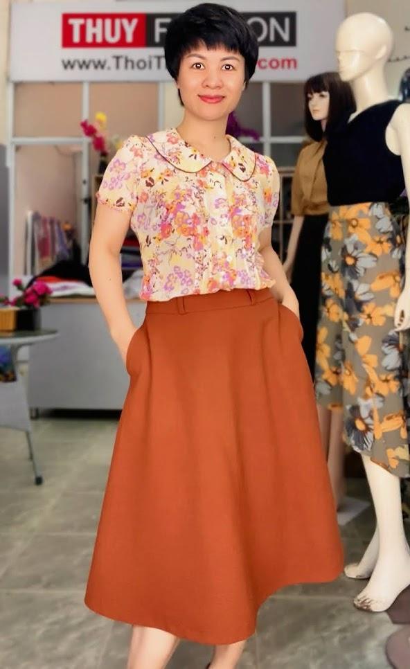 Mix đồ áo sơ mi với chân váy xòe midi V734 thời trang thủy hà nội
