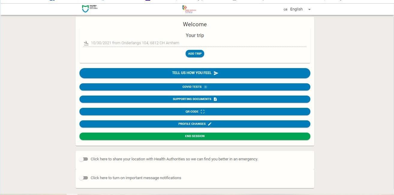 End Session om een nieuwe madeirasafe registratie te beginnen.Ook kun je hier je covid-test uploaden.