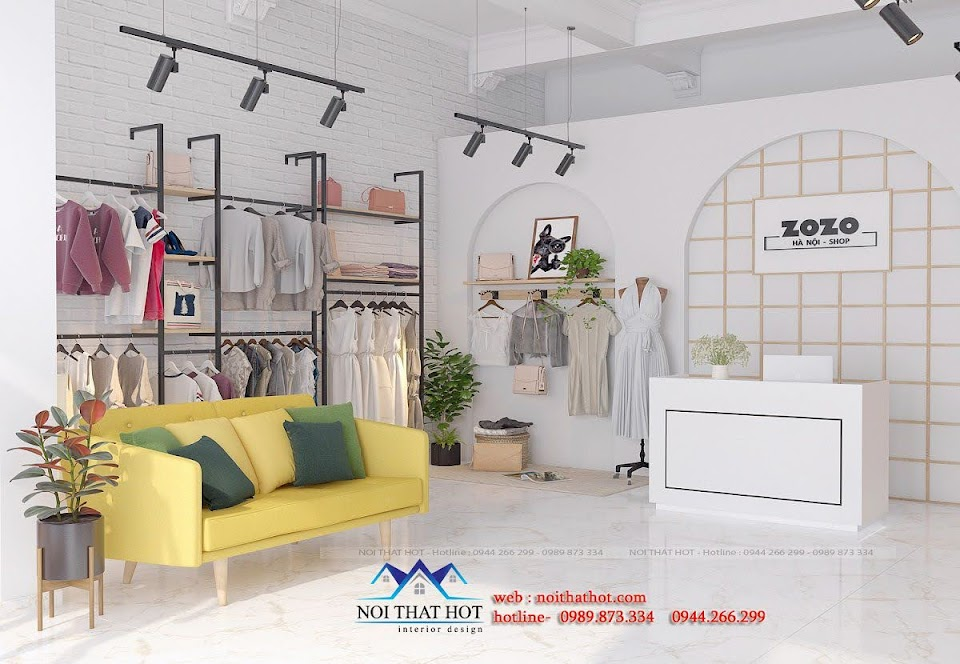 thiết kế shop quần áo kết hợp livestream