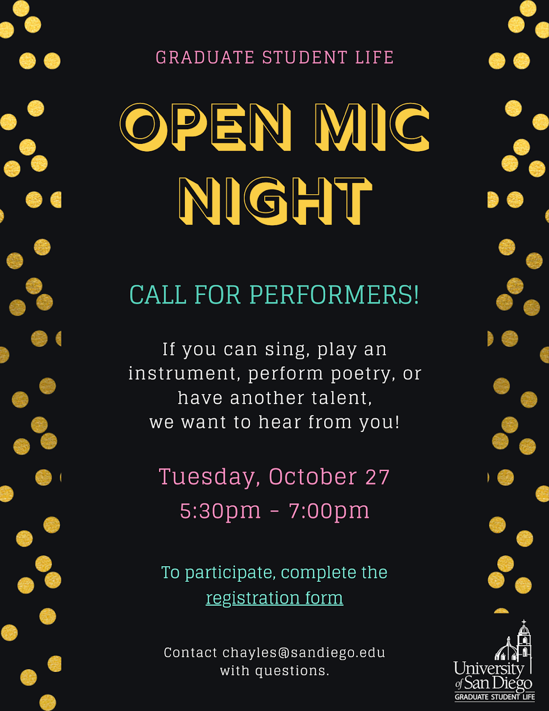 GSL Open Mic Night: Call for performers. If you have a talent, we want you to join us on Tuesday, October 27 at 5:30-7:00pm. Register to perform.