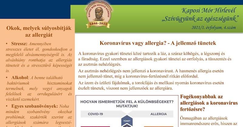 Korona vírus vagy allergia - tájékoztatás 2021