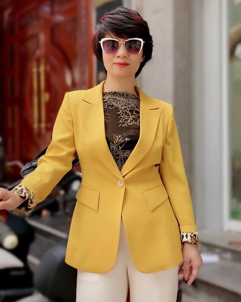 Áo vest nữ công sở màu vàng mix quần ống suông V741 thời trang thủy sài gòn