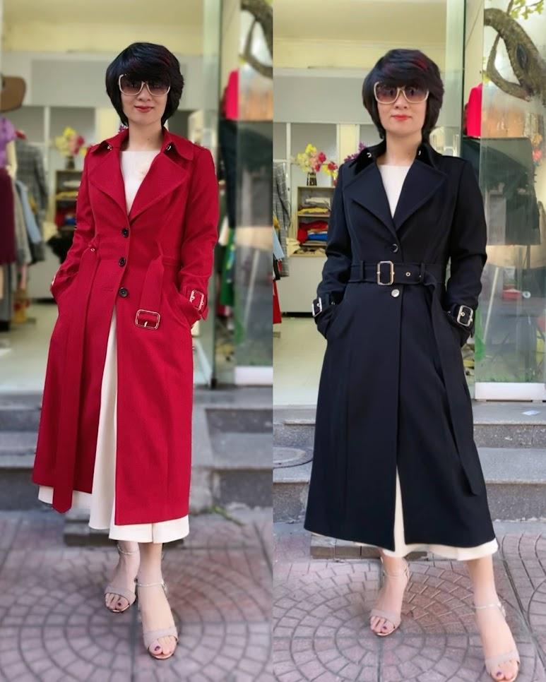 Áo khoác măng tô nữ dáng dài mùa thu đông V747 thời trang thủy thái bình