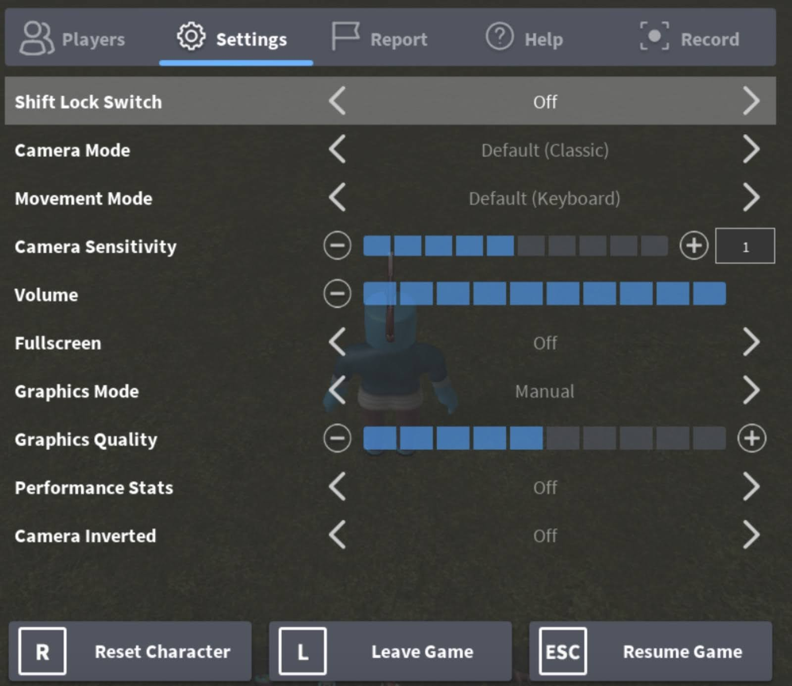 Change the Graphics Mode to Manual, and move the Graphics Quality slider to the left for better performance.