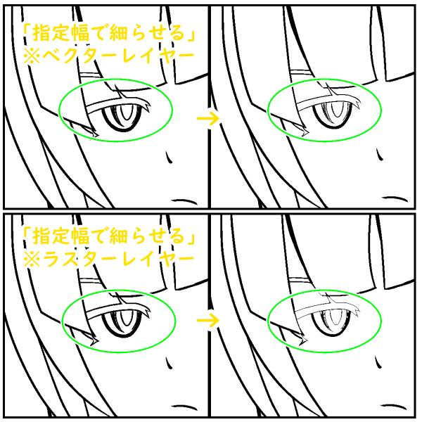クリスタ:指定幅で細らせる(レイヤー比較)