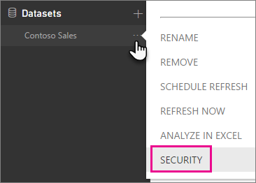 Security button on the dataset