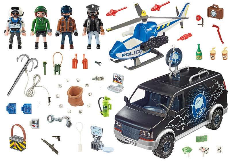 Contenido real de Playmobil® 70575 Helicóptero de Policía: persecución del vehículo huido